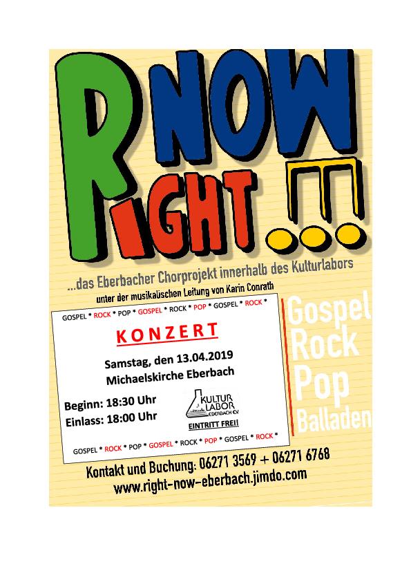 Right Now - Chorprojekt innerhalb des Kulturlabors Eberbach